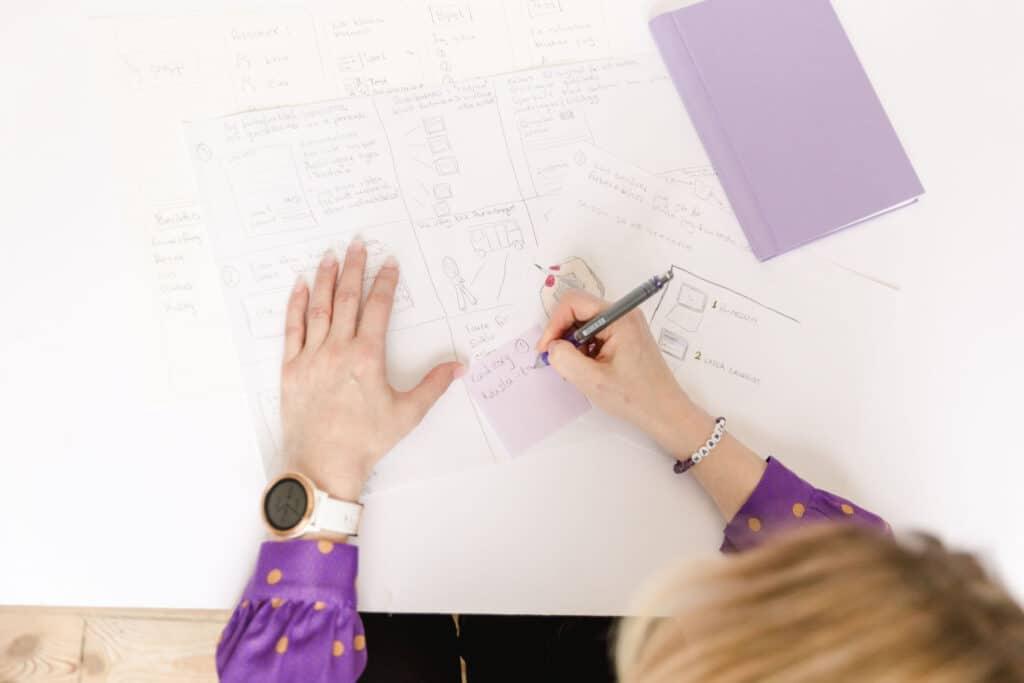 Skriver på postitlappar, Design av avtalsflöde